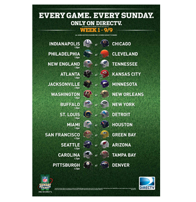 sunday nfl ticket nfl saints schedule